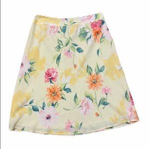 Talbots Pure Silk Yellow Floral Skirt